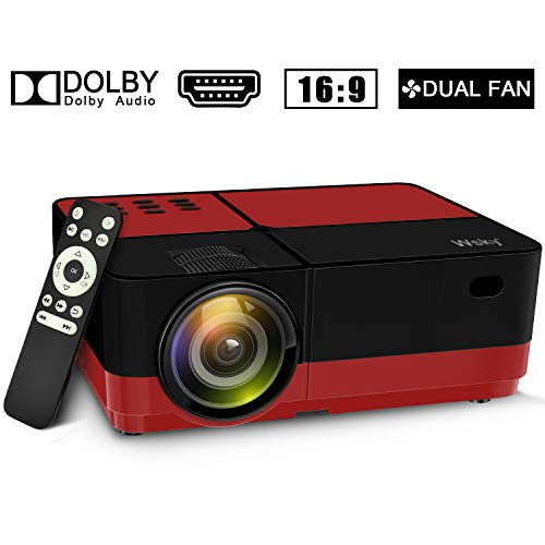 Wsky 2019 Newest LCD LED Outdoor Portable Home Theater Video Projector Red