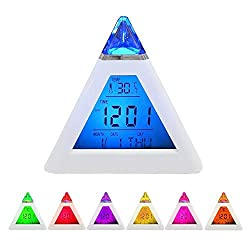 Cdycam 7 LED Color Changing Digital LCD Alarm Clock Display Thermometer Date Time Night Light Desktop Table Clocks