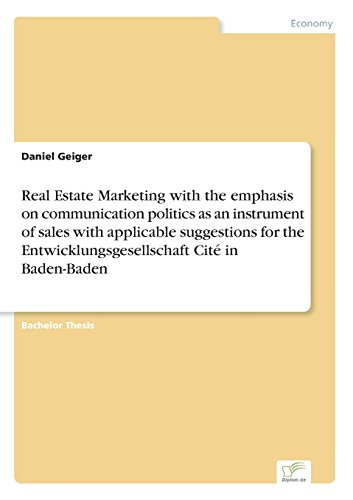 Real Estate Marketing with the emphasis on communication politics as an instrument of sales with applicable suggestions