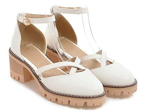 Escarpins Femme Chaussures De Blanc Belle Bout Voyage Rond Aisun Chunky fZPvw6xx