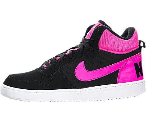 Nike Kids Court Borough Mid (GS) Black/Pink Blast Basketball Shoe 7 Kids US (Nike Court Borough Girls Basketball Shoes Big Kids)