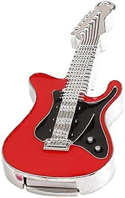 Skyeye Guitarra Eléctrica de Cristal Rojo U Disco Modelo U Disco USB Flash Drive Pen Drive Memoria 16 GB / 32G Espacio de Almacenamiento