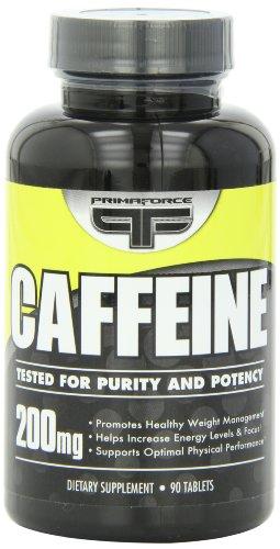 Primaforce cafeína tabletas 200 mg, frasco de 90 cápsulas