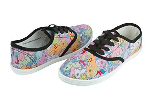 My Little Pony Womens Lace Up Low Cut Canvas Pony Design Fashion Sneaker Size 8