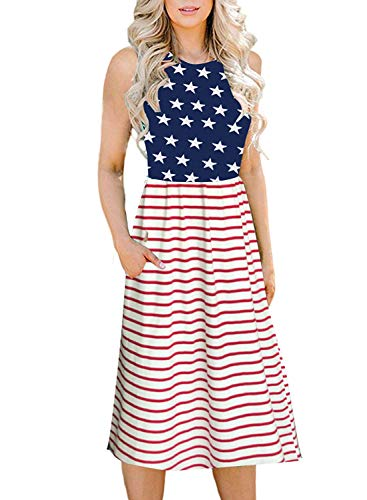 Patriotic Dress Womens (Naggoo Women's July 4th American Flag Printed Midi Dress with Side)
