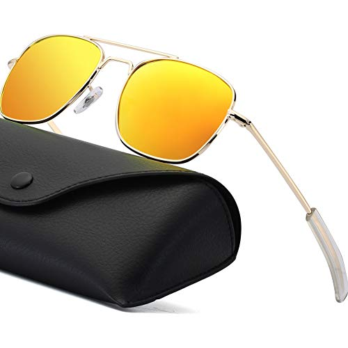 Gold Pilot - Polarized Aviator Sunglasses for Mens Retro Military Pilot Navigator Army Sun Glasses 55mm Square Metal Frame with Bayonet Temples Gold Frame Orange Mirrored Lens