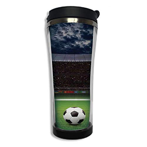 Stainless Steel Insulated Coffee Travel Mug,Spill Proof Flip Lid Insulated Coffee cup Keeps Hot or Cold 8.45 OZ(250 ml)Customizable printing bySports Decor,Soccer Ball on Stadium Arena in Night Illumi