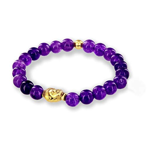 (Believe London Amethyst Gemstone Bracelet Healing Bracelet Chakra Bracelet Anxiety Crystal Natural Stone Men Women Stress Relief Reiki Yoga Diffuser Semi)