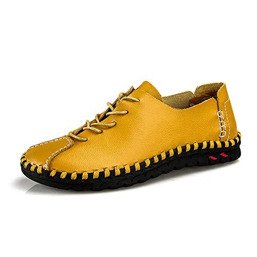 Da Pigri Pelle Confortevole Mocassini Lace Uomo 45 Rotonda Scarpa In Moda Up Selvaggia Punta yellow Tempo Traspirante Gpf Libero fei Scarpe xX00E