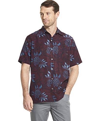 Van Heusen Men's Big and Tall Air Tropical Short Sleeve Button Down Poly Rayon Shirt, purple plum noir, 2X-Large Big
