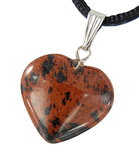 Mahogany Obsidian Necklace - Steampunkers USA Big Heart Collection - 20mm Classic Mahogany Obsidian Black Brown, 20