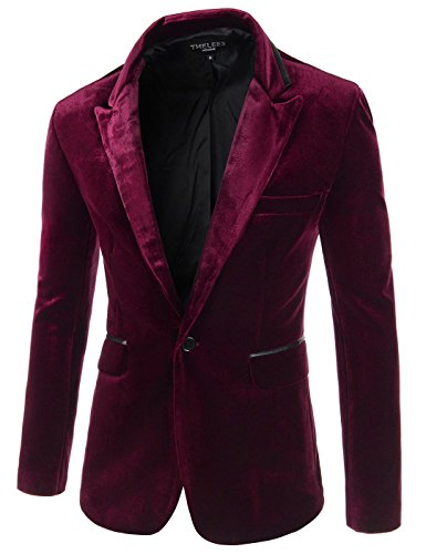 Distressed Blazer (Showblanc (SBJKV01) Male Slender Fit Lapel Color Point 1 Button Velvet Blazer WINE Large(Chest)