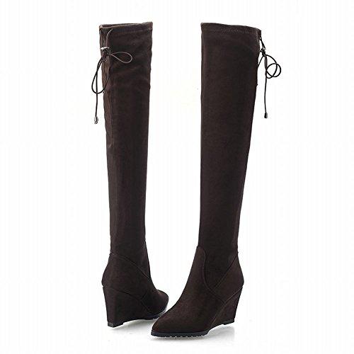 Carolbar Kvinna Pull-on Snörning Spetsig Tå Mode Dagen Parti Kilklack Lång Klänning Boots Brown