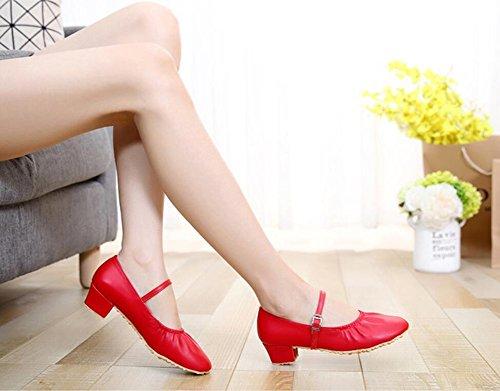 Pelle Un latine Giallo Scarpe Comfort Grigio moderne Punta quadrate da Nero XUE argento traspirante da Sneakers da Scarpe Rosso Scarpe ballo fibbia ballo Scarpe donna arrotondata xwqYX4C