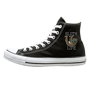 SH-rong Funny Sunglasses Sloth Life High Top Sneakers Canvas Shoes Fashion Sneakers Shoes Unisex Style Size 44