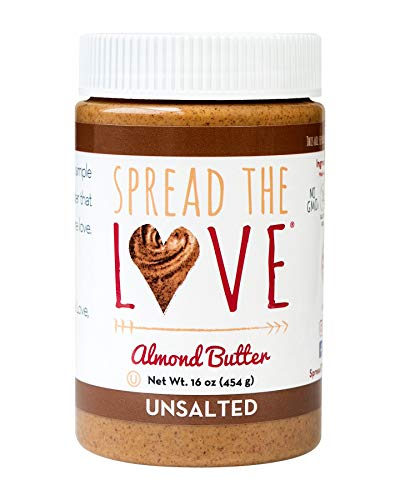 Spread The Love UNSALTED Almond Butter, 16 Ounce (All Natural, Vegan, Gluten-free, Creamy, No added salt, No added sugar, No palm fruit oil, Not pasteurized with PPO)