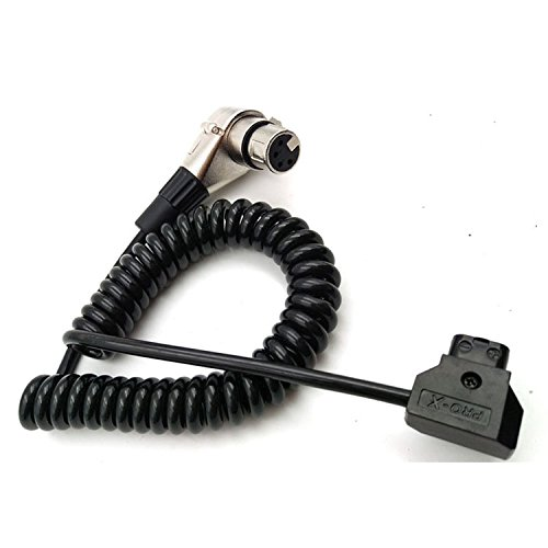 SINTULY XLR 4-pin Right Angle to D-tap Coiled Power Cable for ARRI ALEXA Camera (Arri Extension Cable)