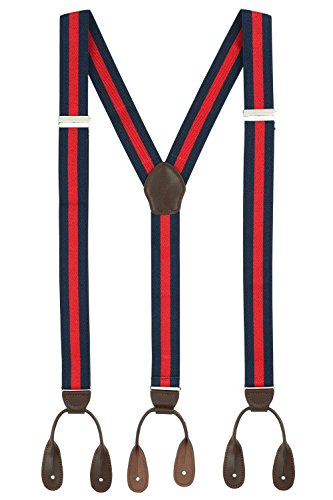 Suspenders for Men Leather Button End Tuxedo Y Back Mens Suspenders Pant Braces - Navy/Red