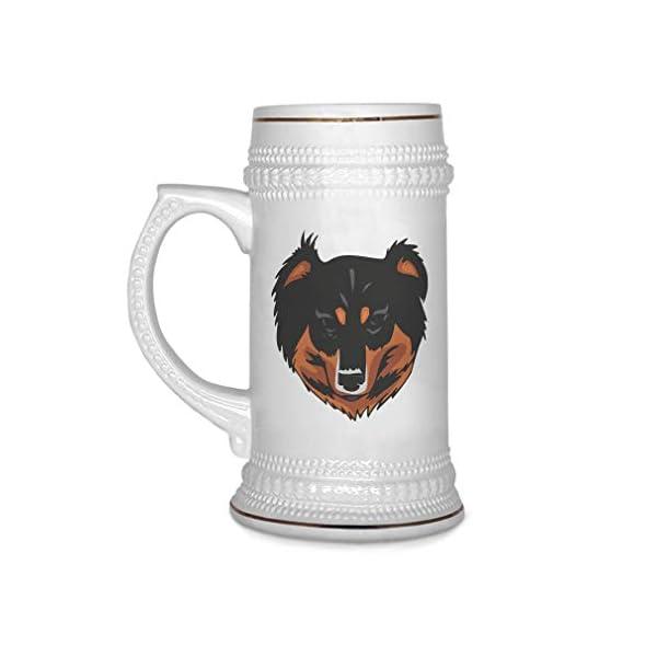 Custom Beer Mug English Shepherd Head Ceramic Drinking Glasses Beer Gifts White 18 OZ Design Only 1