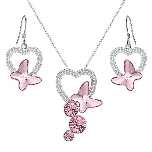 (EleQueen 925 Sterling Silver CZ Butterfly Bridal Pendant Necklace Hook Earrings Set Pink Made with Swarovski Crystals)