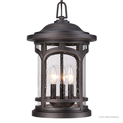 Luxury Rustic Outdoor Pendant Light, Large Size: 18''H x 11''W, with Colonial Style Elements, Wrought Iron Design, Oil Rubbed Parisian Bronze Finish and Seeded Glass, UQL1109 by Urban Ambiance by Urban Ambiance (Image #7)