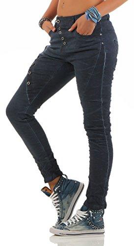 Lexxury by ZARMEXX Señoras novios holgados pantalones vaqueros del estiramiento destruidas se ven varios modelos azul L18124-2