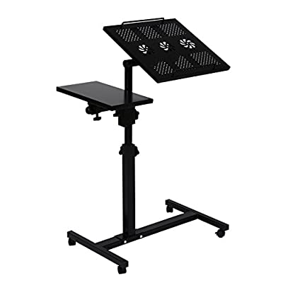 UNICOO - Height Adjustable Laptop Cart Laptop Notebook Stand Over Sofa Bed Table Stand (Black Dual Surface-03)