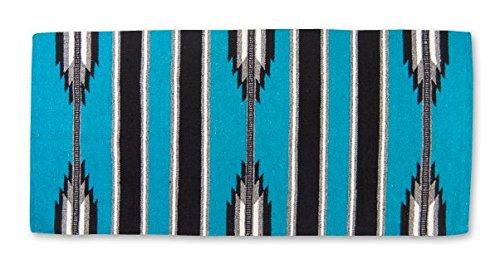 Mayatex Ranger 2000 Saddle Blanket, Turquoise/Black/Cream, 30 x 60-Inch