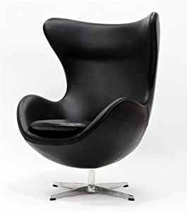Arne Jacobsen style Egg Chair in Aniline Leather, Black