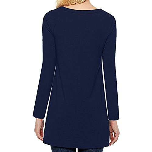 Shirt Rond Tops Automne Casual T Bouton Guesspower Haut Tunique Femme Large Shirts Chemises Dcontract Col Top Blouse Marine T HqxEF
