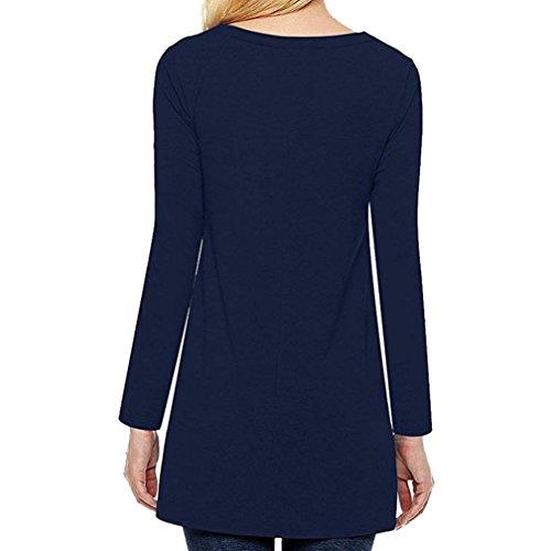Chemises Col Automne Dcontract Shirts Femme Shirt Top T T Tunique Bouton Guesspower Haut Marine Large Tops Casual Rond Blouse qIwAtZ7txB