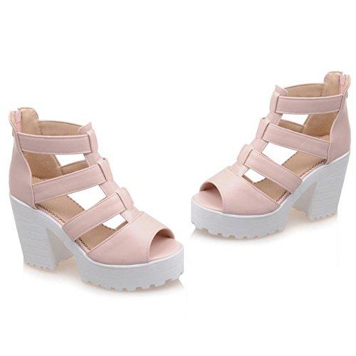 En Plataforma Tacon Sandalias Peep Mujer T Zapatos Cremallera Rosado Moda Toe Con Ancho Correa Coolcept tZwRx