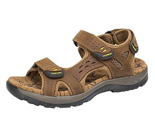 Scarpe Suola Alta Studio Velcro da Pelle chiaro Spiaggia Sandali SK Sportivi di Trekking Sandalo Uomo Marrone xwYOq011
