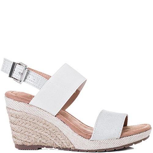 Spylovebuy Kalahari Women's Open Peep Toe Wedge Heel Espadrille Barely There B78Sandals Shoes Silver Leather Style cjOFIzT
