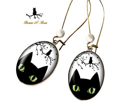 boucle d'oreille chat noir