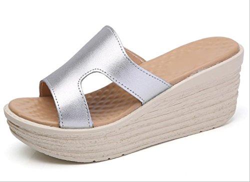 AJUNR di Pantofole Da spesse 7cm scarpe spiaggia Donna Sandali hill con Moda argento 35 da pan spagna 35 Alla rXqxPr5AwC