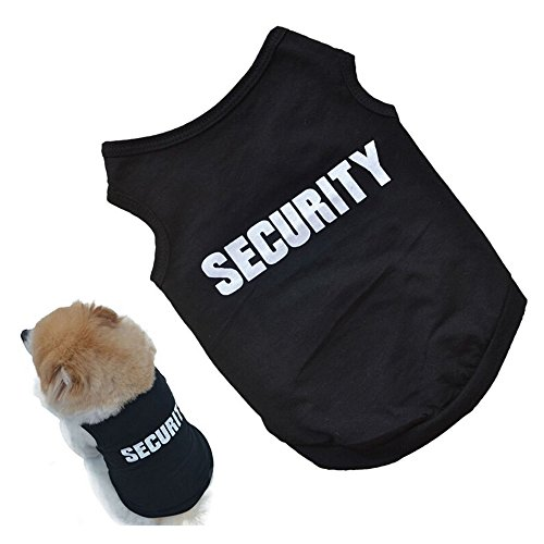 (Academyus Printed Pet Security Dog T-Shirt Puppy Dogs Summer Tank Top Vest - Black)