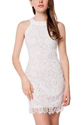 - Yikomi Women's Summer Halter Neck Midi Lace Party Cocktail Dress (14, White)