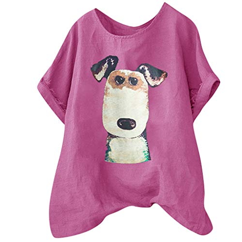 (Tantisy ♣↭♣ Women's Plus Size Fun Dog Short Sleeve Print Shirt Summer Comfy Breathable Flax Blouse Ladies Basic Tops Hot Pink)