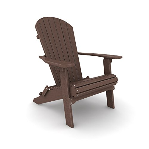 Poly Lumber Wood Folding Adirondack Chair - Coffee Bean Brown (Folding Recycled Lumber Poly Chair)