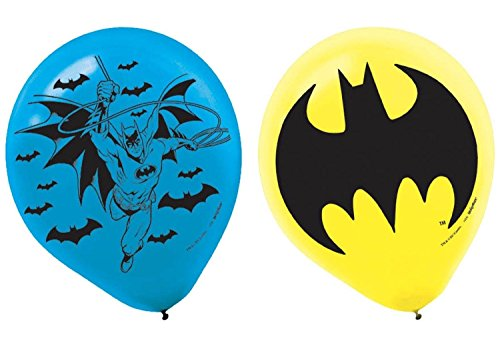 AMI 111386 Batman Latex Balloons, 6 Pieces, Made from Latex, Batman birthday party, 12