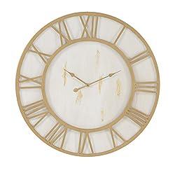 Deco 79 27280 Wall Clock, Gold/White