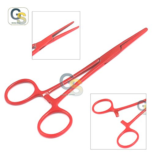 G.S Lot of 2 Pcs Straight & Curved Crile Hemostat Forceps Locking Clamps 5.5'' Red Color Stainless Steel Best Quality by G.S ONLINE STORE (Image #1)