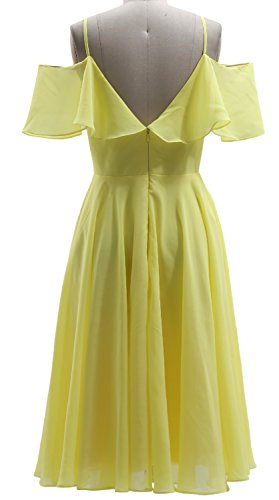 MACloth Ruffled Chiffon Short Bidesmaid Dress V Neck Wedding Party Formal Gown Himmelblau ItG04jttuf