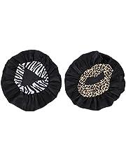 Lurrose 2 szt. satynowa czapka do spania, rozciągliwa czapka do spania, regulowana czapka do włosów, maska do włosów dla kobiet, kręcone włosy, warkocz