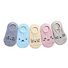 CHUNG Little Girls Toddler Anti Slip Thin Cotton Socks Summer No Show 5 Pack 12M-7Y