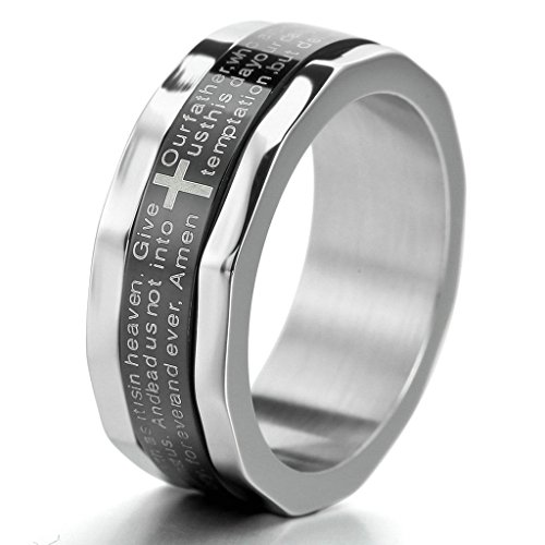 (Bishilin Silver Black Stainless Steel Bible Lords Prayer Cross Ring Size 12)