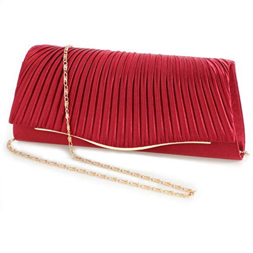 - Ladies Party Handbag Wedding Bag classic pleated evening bags(Red)