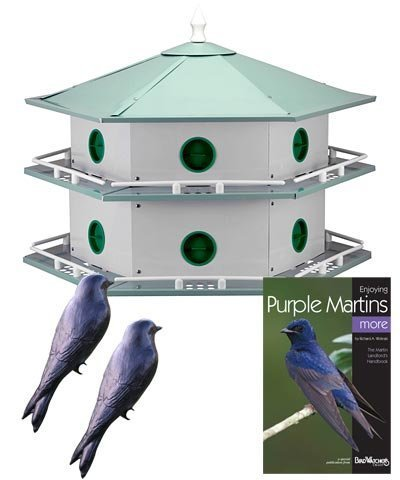 Heath 12-Room Deluxe Purple Martin House with Book & Decoys 12 Room Purple Martin House
