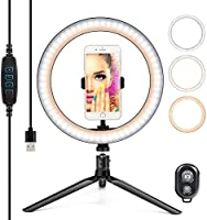 LEDリングライト 外径10in 自撮りライト 撮影照明用ライト 3色モード 卓上ライト Bluetoothリモコン スマホスタンド付き 高輝度LED 10段階調光 美容化粧/自撮り/生放送/Tiktok/Youtube/ビデオカメラ撮影用